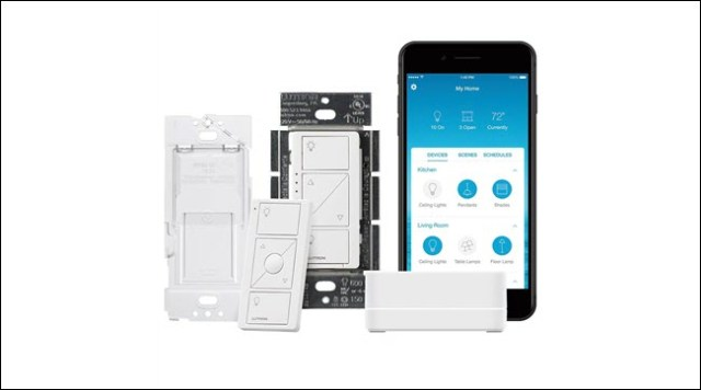 Lutron, Smart Switch, Wireless Remote Control, and Lutron Smart Bridge and App.
