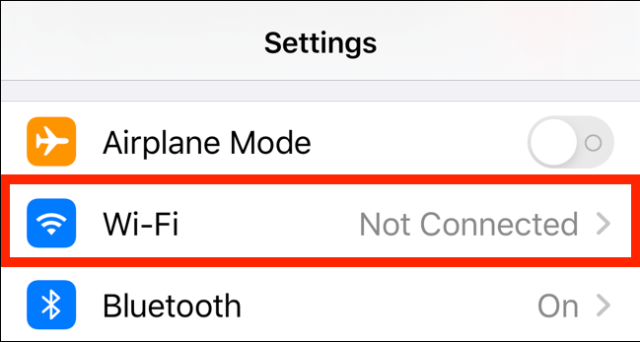 Tap the Wi-Fi option on the Settings page