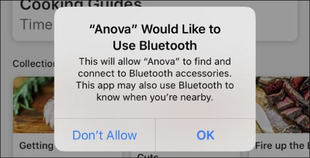 Generic Bluetooth authorization request message from the Anova application on iOS 13.