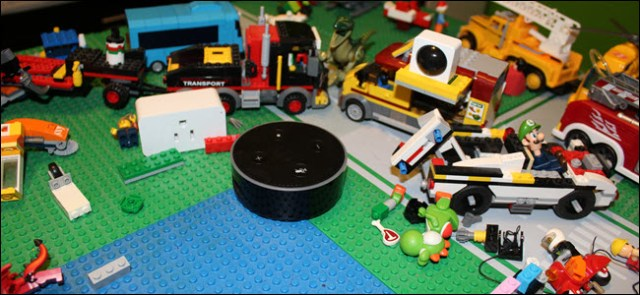 A smart plug, an infrared sensor and echo in the middle of Lego blocks and other toys.