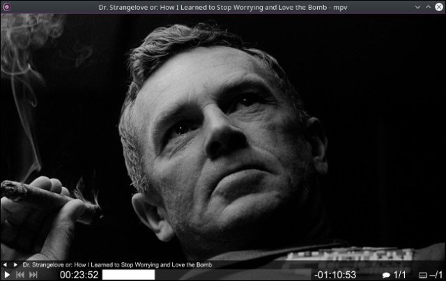 A scene from a movie in the MPV application for Mac.
