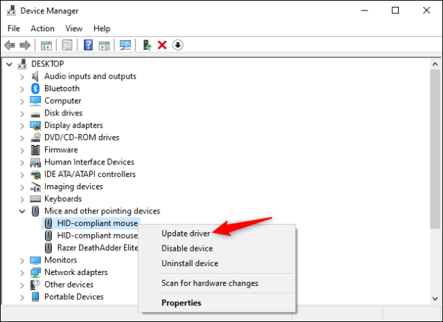 Updating drivers for a mouse device in Device Manager