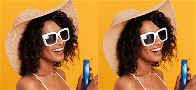 On the left, a bright, unmodified, unmodified image of a woman in front of a yellow background. On the right, a pixilated and fuzzy version of the same image after interpolation of the nearest neighbor.