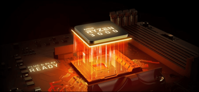 Ryzen 3000 processor with orange light in the socket of the motherboard.