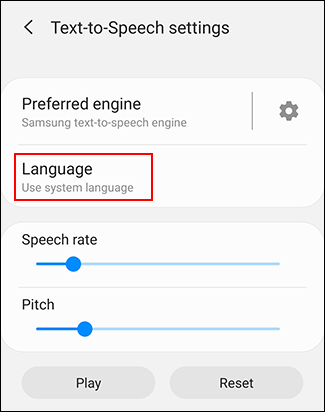Press Language in your TTS settings menu