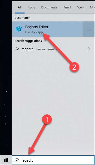 Search the start menu with arrows pointing to the search result regedit and registry editor.