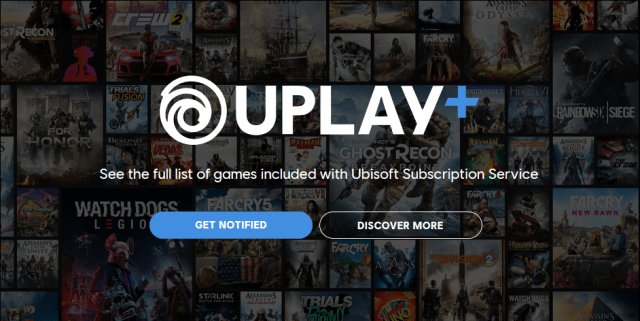 Uplay Plus logo on background of several video game cover images.