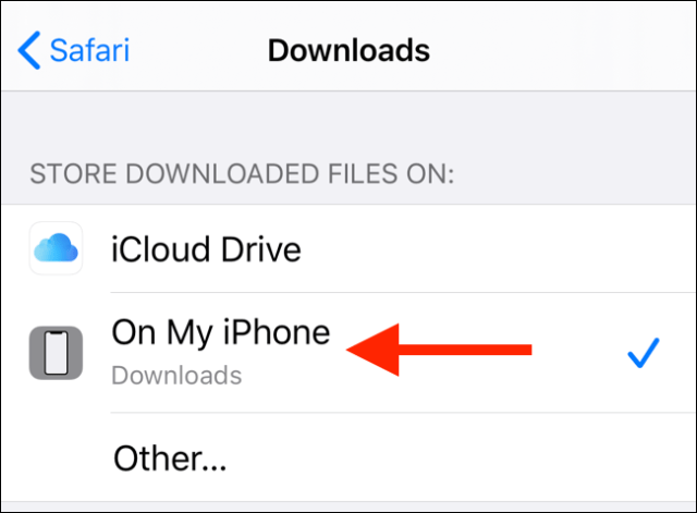 Tap on my iPhone to change the download destination