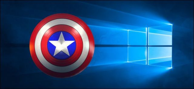 Captain America shield on a Windows 10 screen background