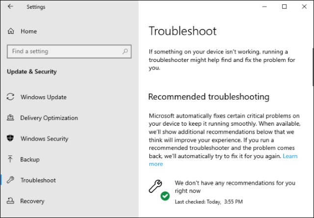 Troubleshooting options in settings