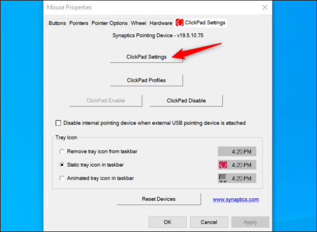 Launch Synaptics ClickPad settings on an HP laptop.