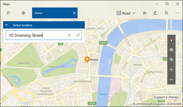Find your home, then press Enter or click the search button
