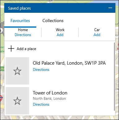 A list of locations saved in Windows 10 Maps