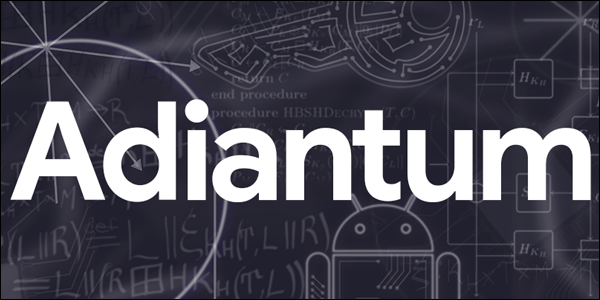 adiantum logo against a board full of android designs