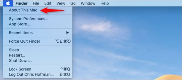 Opening About this Mac in the Mac menu bar.
