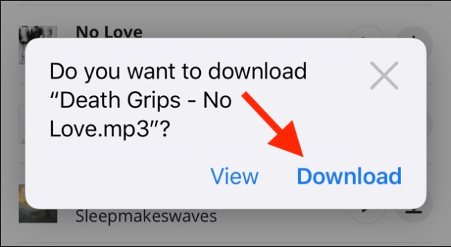 Tap the Download button to start a download