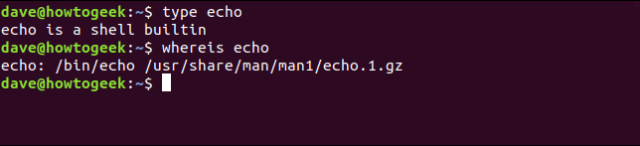 type the echo in a terminal window