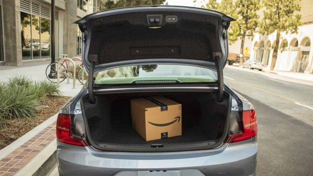 An Amazon parcel in someone's trunk, being returned.