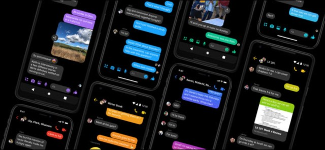 The Facebook Messenger app on eight smartphones side by side.