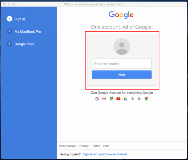 Log in to your Google Account the first time you start Google Backup and Sync on Mac