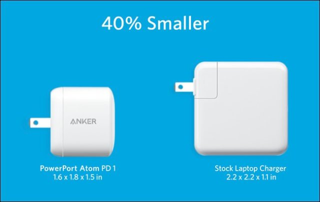 The Anker PowerPort Atom PD 1 next to the largest original laptop charger.