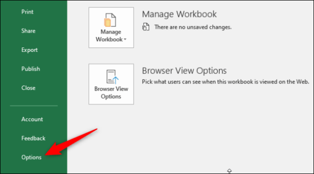 Access Excel options