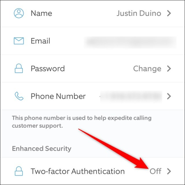 Two-factor authentication of the Ring app