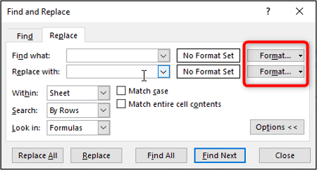 Define formatting to find and replace