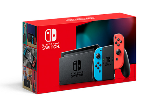 A red Nintendo Switch box.