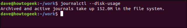 journalctl --disk-usage in a terminal window
