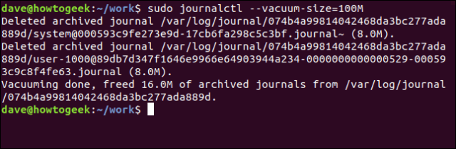 journalctl --vacuum-size = 100M in a terminal window