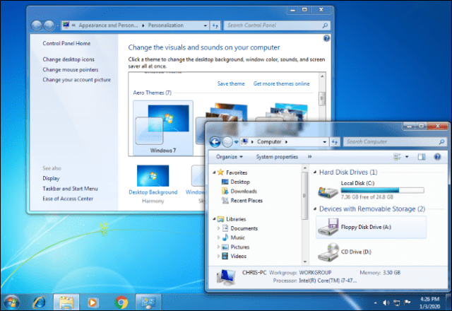 A Windows 7 desktop with the Control Panel and Windows Explorer open.