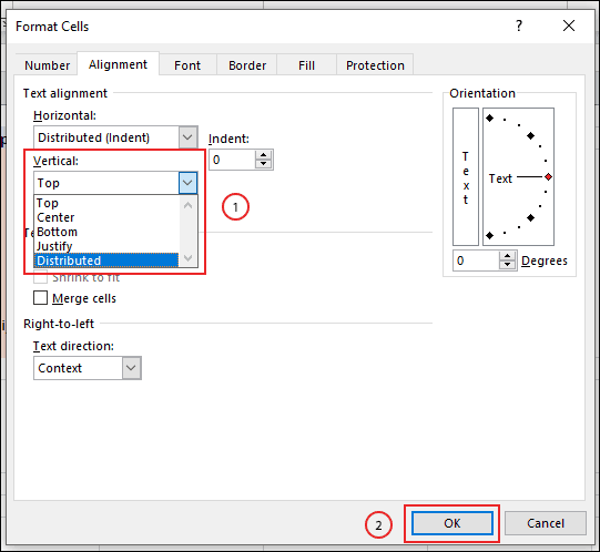 Select your text removal options at the top or bottom from the vertical drop-down menu in the format cell area