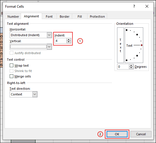 Confirm the spacing for removing the border from your cell, then click OK
