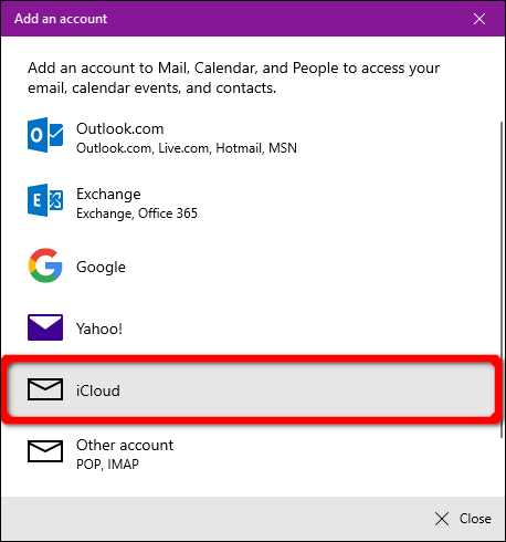 Windows Mail application iCloud account