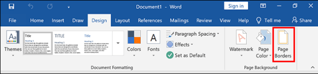 Depending on your version of Word, click the Design or Layout / Layout tab, then click Page Borders