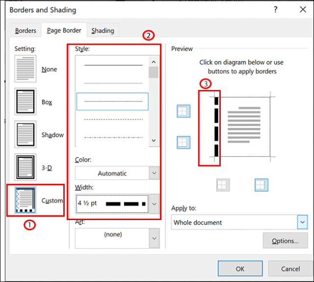 In the page border options for Microsoft Word, select Custom, select your formatting, then click one of the border lines in the Preview section to apply it