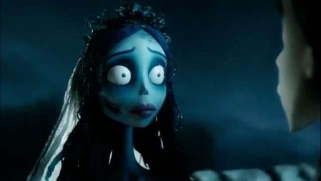 A screenshot of Corpse Bride, representing the wide-eyed bride.