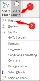 Search and select menu