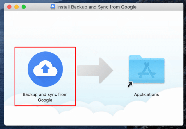 In the Google Drive Backup and Sync installer for Mac, drag the Google Backup & Sync icon to the Applications folder icon on the right