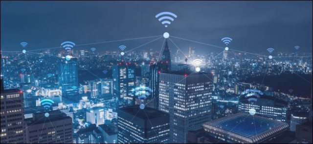 A cityscape with Wi-Fi icons.