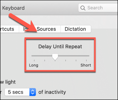 Move the Delay before repeat slider up and down to affect the repeat delay of the Mac keyboard