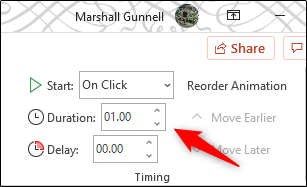 adjust the duration of the animation