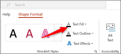 Select the Text Fill option