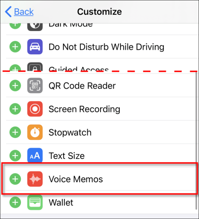 Select Voice Memos to add to the Control Center