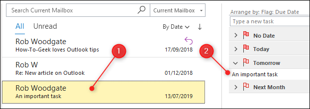 An email that has been flagged and is now highlighted in yellow and appears in the task list.