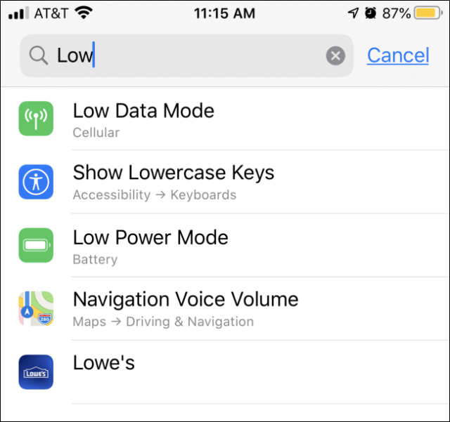 Search results for iOS and iPadOS settings