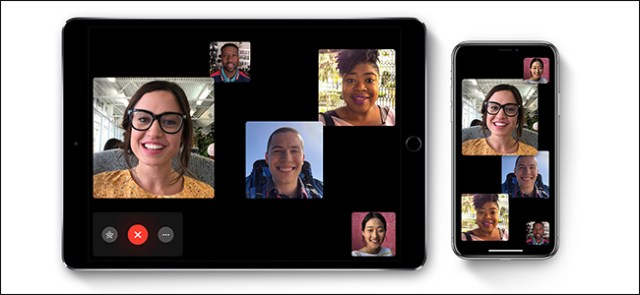 Five people on a FaceTime call on iPad and iPhone.