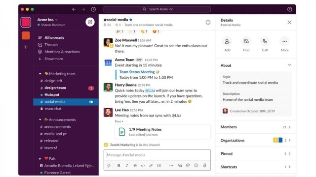A redesigned Slack app with a customizable sidebar and a search bar at the top.
