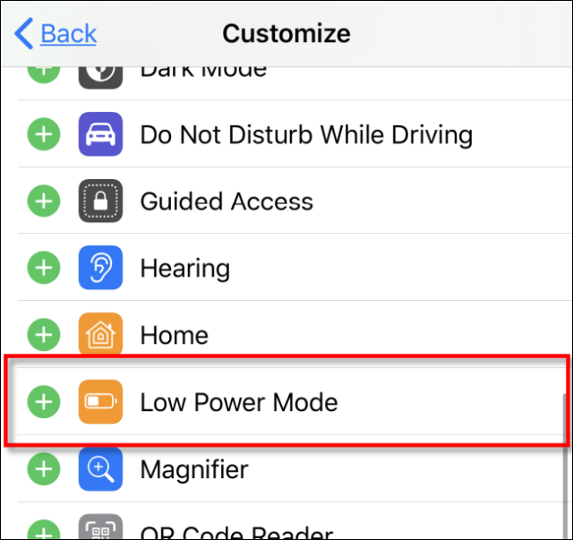Add low power mode to the control center in iOS iPadOS